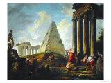 Alexander the Great Before the Tomb of Achilles, 1755-1757 Reproduction procédé giclée par Hubert Robert