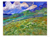 Wheatfield and Mountains, c.1889 Giclée-Premiumdruck von Vincent van Gogh
