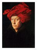 A Man in a Red Turban (Self-Portrait of Jan Van Eyck), 1433 Giclée-tryk af  Jan van Eyck