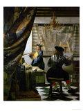 画家のアトリエ(絵画芸術) 1665-1666年 ジクレープリント : ヨハネス・フェルメール