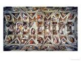 Det Sixtinske Kapel, loftsfreskoer efter restaurering Giclée-tryk af Michelangelo Buonarroti,