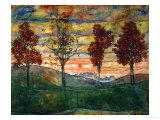 Fire træer, 1917 Giclée-tryk af Egon Schiele