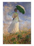 Woman with an Umbrella Turned to the Right Giclee Print by Claude Monet