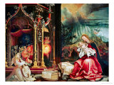 Concert of the Angels, the Madonna in Prayer, and Nativity, from the Isenheim Altarpiece, 1515 Giclée-tryk af Matthias Grünewald