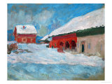 Red Houses at Bjoernegaard, Norway, 1895 Giclee Print by Claude Monet