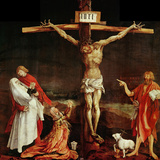 Crucifixion, a Panel from the Isenheim Altar, Limewood (Around 1515) Giclée-tryk af Matthias Grünewald