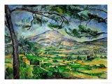 Sainte Victoire-bjerget med stort fyrretræ, ca. 1887  Giclée-tryk af Paul Cézanne