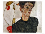Self-Portrait with Chinese Lantern and Fruits Gicléetryck av Egon Schiele