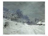 Landscape Around Honfleur, Snow, circa 1867 Giclée-Druck von Claude Monet