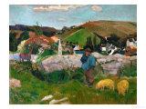 Peasants, Pigs, and a Village Under a Clear Sky, Landscape in Brittany, France, 1888 Reproduction procédé giclée par Paul Gauguin