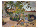 Garden in Vaugirard, or the Painter's Family in the Garden in Rue Carcel, 1881 Giclée-tryk af Paul Gauguin