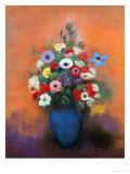 Anemones and Lilacs in a Blue Vase, after 1912 Giclee-trykk av Odilon Redon