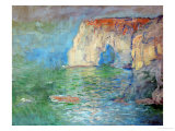 Etretat, the Cliff, Reflections on Water; 1885 Giclee Print by Claude Monet