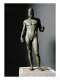 Riace Bronze (B), Bronze Statue of a Young Man with Helmet, More Than Life-Size, Found in 1972 Giclée-tryk af  Phidias