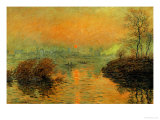 Setting Sun on the Seine at Lavacourt, Effect of Winter, 1880 Impressão giclée por Claude Monet