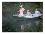 The Boat at Giverny (Or) the Norwegians, the Three Daughters of Mme. Hoschede Giclée-tryk af Claude Monet