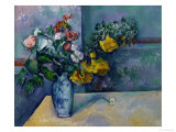 Still Life: Flowers in a Vase Reproduction procédé giclée par Paul Cézanne