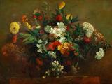 Blomster Giclée-tryk af Eugene Delacroix