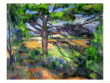 Large Pine Tree and Red Earth, 1890-1895 Giclée-Premiumdruck von Paul Cézanne