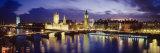Buildings Lit Up at Dusk, Big Ben, Houses of Parliament, London, England Photographic Print