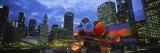 Buildings Lit Up at Night, Millennium Park, Chicago, Illinois, USA Fotografisk tryk