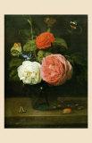 Bouquet de Roses avec Papaillons et Insectes Poster von Jacob Fopsen Van Es