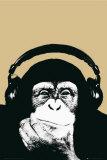 Chimpanzé avec écouteurs Affiche