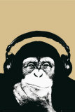 Steez - Affe mit Kopfhörer Kunstdruck