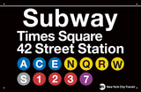 Estação do Metrô Times Square-42 Street Placa de lata