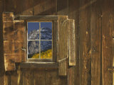 Reflection of Mountain and Forest in Window of Old Cabin, Uncompahgre National Forest, Colorado Fotografie-Druck von Jeff Vanuga