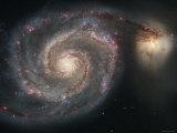 The Whirlpool Galaxy (M51) and Companion Galaxy Fotografisk trykk av Stocktrek Images,