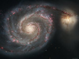 The Whirlpool Galaxy (M51) and Companion Galaxy Fotografie-Druck von  Stocktrek Images
