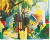 Landschaft Bedruckte aufgespannte Leinwand von Auguste Macke