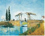 The Langlois Bridge Pingotettu canvasvedos tekijänä Vincent van Gogh