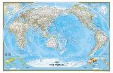 Mapa-múndi clássico com Pacífico no centro Posters