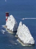 Aerial View of the Needles Rocks and Lighthouse, Isle of Wight, England, United Kingdom Reproduction photographique par Charles Bowman