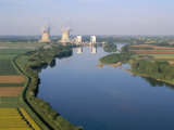 Aerial View of River and Countryside Near the Nuclear Power Station of Saint Laurent-Des-Eaux Reproduction photographique par Bruno Barbier