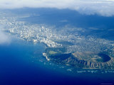 Aerial View of Honolulu, Waikiki and Diamond Head, Oahu, Hawaii, USA Reproduction photographique par Ethel Davies