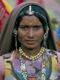 Portrait of a Desert Nomad Gypsy Woman, Rajasthan State, India Photographic Print by Alain Evrard