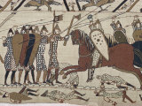 King Harold's Foot Soldieres with Spears and Battle Axes, Bayeux Tapestry, Normandy, France Impressão fotográfica por Walter Rawlings