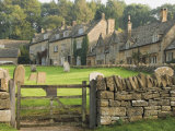 Dry Stone Wall, Gate and Stone Cottages, Snowshill Village, the Cotswolds, Gloucestershire, England Photographic Print by David Hughes