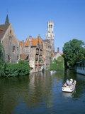 Rozenhoedkai and Belfried, Bruges (Brugge), Unesco World Heritage Site, Belgium Photographic Print by Hans Peter Merten