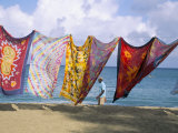 Batiks on Line on the Beach, Turtle Beach, Tobago, West Indies, Caribbean, Central America Photographic Print by Michael Newton