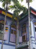 Colourfully Painted Building in Little India, Singapore, Southeast Asia Photographic Print by Amanda Hall