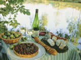 Food and Wine on a Table Beside the River Loire, France Premium Photographic Print by John Miller