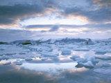 Jokuslarlon Glacial Lagoon, Vatnajokull Ice-Cap, Iceland, Polar Regions Photographic Print by Simon Harris