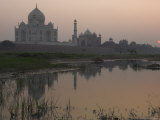 View at Dusk Across the Yamuna River of the Taj Mahal, Agra, Uttar Pradesh State, India Photographic Print by Eitan Simanor