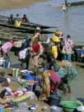 Laundry by the River, Djenne, Mali, Africa Fotografisk trykk av Bruno Morandi