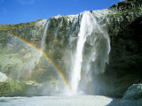 Seljalandsfoss Waterfall and Rainbow, Southern Area, Iceland, Polar Regions Photographic Print by Simon Harris