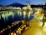 Waterfront Pavement Cafes, Lucerne, Switzerland Photographic Print by Simon Harris